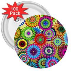 Psychedelic Flowers 3  Button (100 pack)