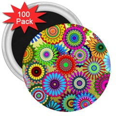 Psychedelic Flowers 3  Button Magnet (100 pack)