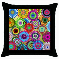 Psychedelic Flowers Black Throw Pillow Case