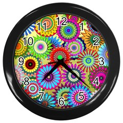 Psychedelic Flowers Wall Clock (Black)