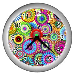 Psychedelic Flowers Wall Clock (Silver)