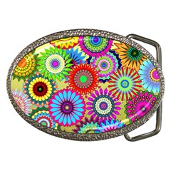 Psychedelic Flowers Belt Buckle (Oval)