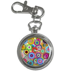 Psychedelic Flowers Key Chain Watch