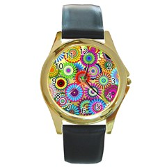 Psychedelic Flowers Round Leather Watch (Gold Rim)