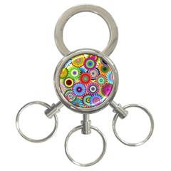 Psychedelic Flowers 3-Ring Key Chain