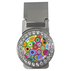 Psychedelic Flowers Money Clip (CZ)