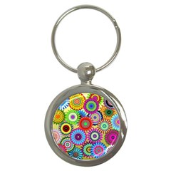 Psychedelic Flowers Key Chain (Round)