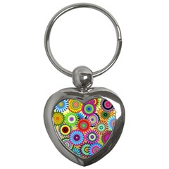 Psychedelic Flowers Key Chain (Heart)