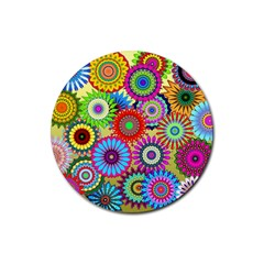 Psychedelic Flowers Drink Coasters 4 Pack (Round)