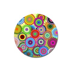 Psychedelic Flowers Magnet 3  (Round)