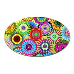 Psychedelic Flowers Magnet (Oval)