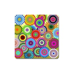 Psychedelic Flowers Magnet (Square)