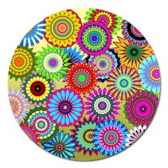 Psychedelic Flowers Magnet 5  (Round)