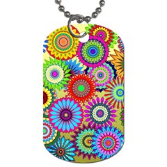 Psychedelic Flowers Dog Tag (one Sided)