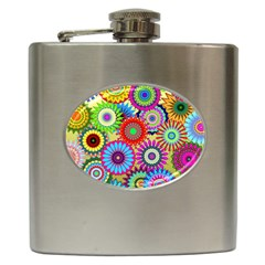 Psychedelic Flowers Hip Flask