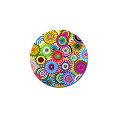Psychedelic Flowers Golf Ball Marker