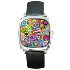 Psychedelic Flowers Square Leather Watch