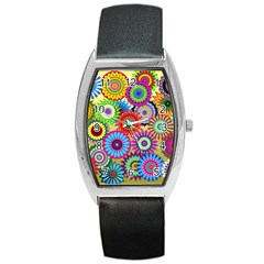 Psychedelic Flowers Tonneau Leather Watch
