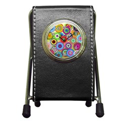 Psychedelic Flowers Stationery Holder Clock