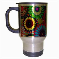 Psychedelic Flowers Travel Mug (Silver Gray)