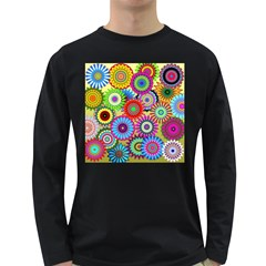 Psychedelic Flowers Men s Long Sleeve T-shirt (Dark Colored)