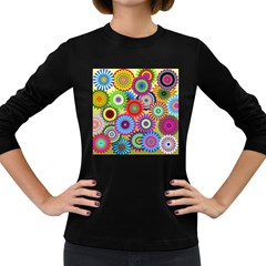 Psychedelic Flowers Women s Long Sleeve T-shirt (Dark Colored)