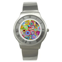 Psychedelic Flowers Stainless Steel Watch (Slim)