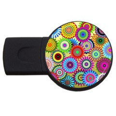 Psychedelic Flowers 4GB USB Flash Drive (Round)
