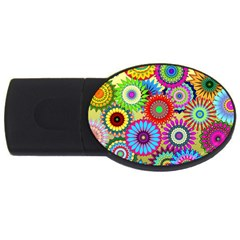 Psychedelic Flowers 4GB USB Flash Drive (Oval)
