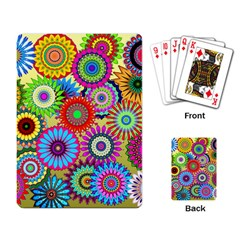 Psychedelic Flowers Playing Cards Single Design