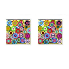 Psychedelic Flowers Cufflinks (Square)