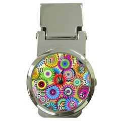 Psychedelic Flowers Money Clip With Watch