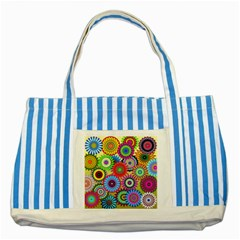 Psychedelic Flowers Blue Striped Tote Bag