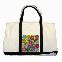 Psychedelic Flowers Two Toned Tote Bag