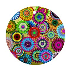Psychedelic Flowers Round Ornament (two Sides)