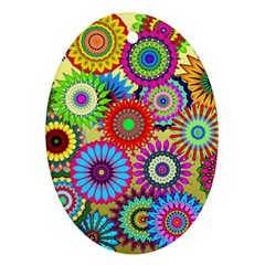 Psychedelic Flowers Oval Ornament (Two Sides)