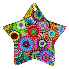 Psychedelic Flowers Star Ornament (Two Sides)