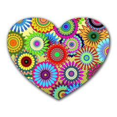 Psychedelic Flowers Mouse Pad (heart)