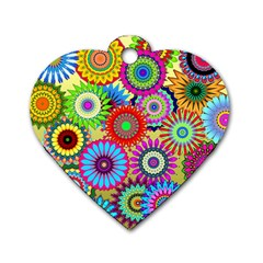Psychedelic Flowers Dog Tag Heart (one Sided)