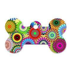 Psychedelic Flowers Dog Tag Bone (One Sided)