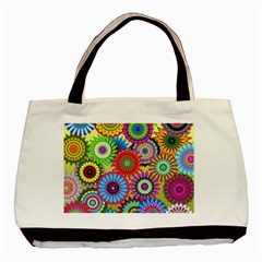 Psychedelic Flowers Twin-sided Black Tote Bag