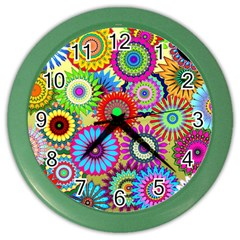 Psychedelic Flowers Wall Clock (Color)