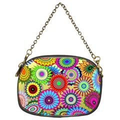 Psychedelic Flowers Chain Purse (two Sided)