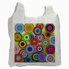 Psychedelic Flowers White Reusable Bag (one Side)
