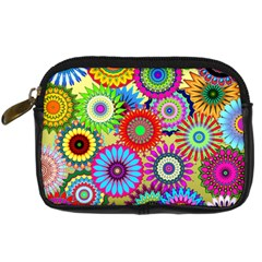 Psychedelic Flowers Digital Camera Leather Case