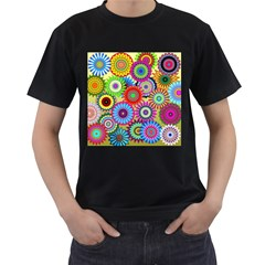 Psychedelic Flowers Men s T Shirt (black)