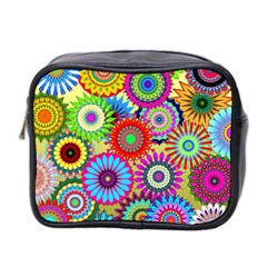 Psychedelic Flowers Mini Travel Toiletry Bag (Two Sides)