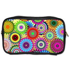 Psychedelic Flowers Travel Toiletry Bag (Two Sides)