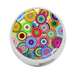 Psychedelic Flowers 4-Port USB Hub (Two Sides)