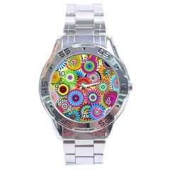 Psychedelic Flowers Stainless Steel Watch